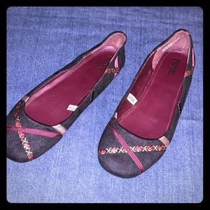 Black suede with maroon and floral detail